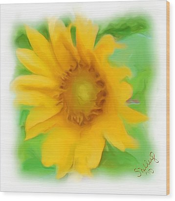 Wood Print featuring the painting Sunflower by Shelley Bain
