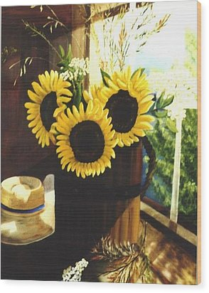 Wood Print featuring the painting Sunflower Sill by Renate Nadi Wesley