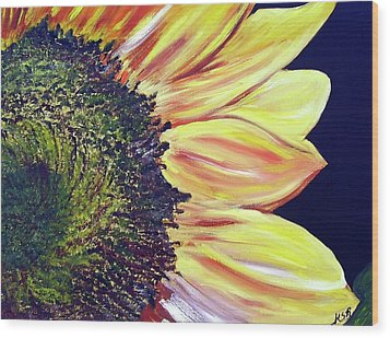 Sunflower Single Wood Print by Maria Soto Robbins
