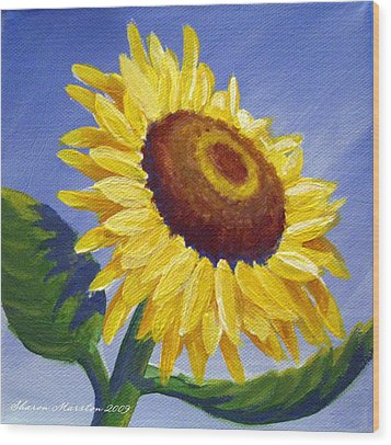 Sunflower Skies Wood Print by Sharon Marcella Marston