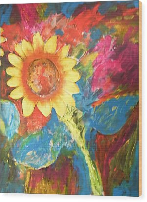 Sunflower Song Wood Print by Esther Newman-Cohen