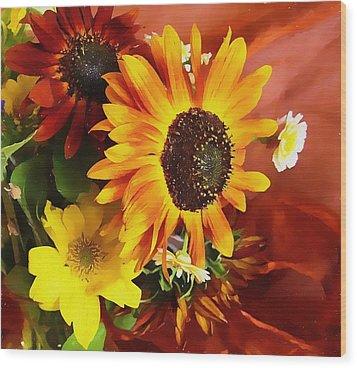 Sunflower Strong Wood Print by Kathy Bassett