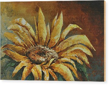 Sunflower Study Wood Print by Michael Lang