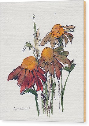 Wood Print featuring the painting Sunflower Trio #1 by Anne Duke