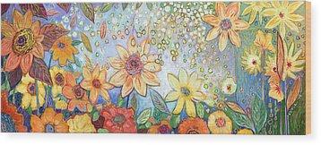Sunflower Tropics Wood Print by Jennifer Lommers