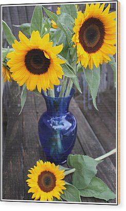 Sunflowers And Blue Vase - Still Life Wood Print by Dora Sofia Caputo Photographic Art and Design