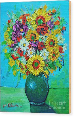 Sunflowers And Daises Wood Print by Ana Maria Edulescu