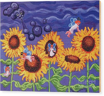 Sunflowers And Faeries Wood Print by Genevieve Esson