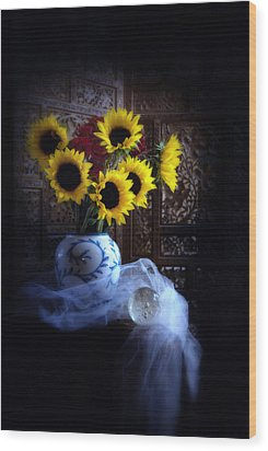 Wood Print featuring the photograph Sunflowers And Globe by Linda Olsen