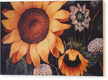 Sunflowers And More Sunflowers Wood Print by Jordana Sands