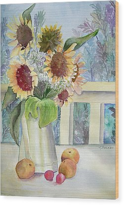 Sunflowers And Peaches Wood Print by Katherine  Berlin