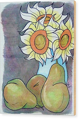 Sunflowers And Pears Wood Print by Loretta Nash
