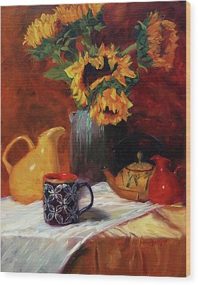 Sunflowers And Undersea Vase Wood Print by Jeanne Young