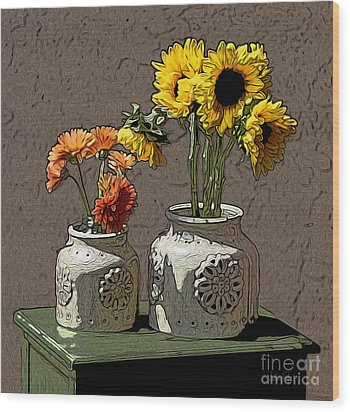 Sunflowers Wood Print by Anthony Forster