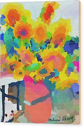 Sunflowers At Rockport Farmer's Market Wood Print