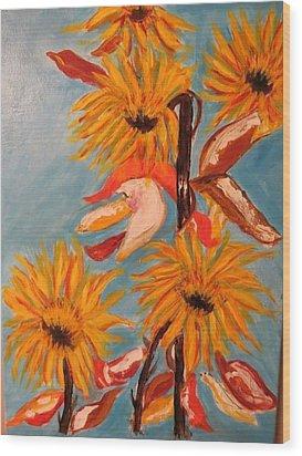 Sunflowers At Harvest Wood Print