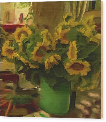 Wood Print featuring the painting Sunflowers At The Market by Shelley Bain