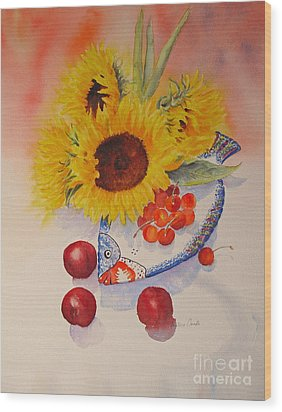 Wood Print featuring the painting Sunflowers by Beatrice Cloake