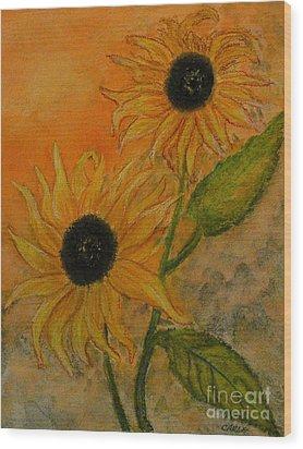 Sunflowers Wood Print by Carla Stein