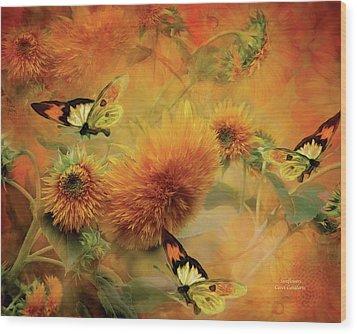 Sunflowers Wood Print by Carol Cavalaris