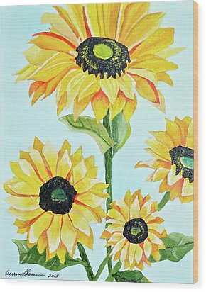 Sunflowers  Wood Print by Donna Blossom