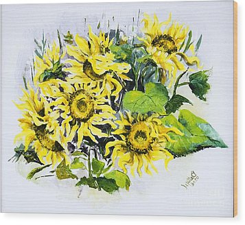 Sunflowers Wood Print by Elisabeta Hermann