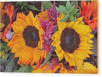 Sunflowers Eyes Wood Print by Jasna Gopic