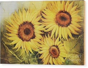 Sunflowers Wood Print by Fatima Stamato