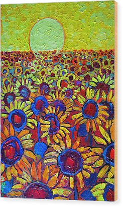 Sunflowers Field At Sunrise Wood Print