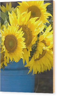 Sunflowers For Sale Wood Print by Elvira Butler
