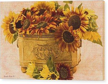 Sunflowers Galore Wood Print