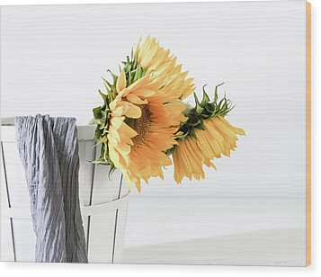 Wood Print featuring the photograph Sunflowers In A Basket by Kim Hojnacki