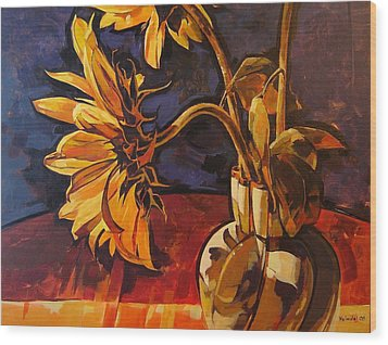 Sunflowers In Italian Vase Take Two Wood Print
