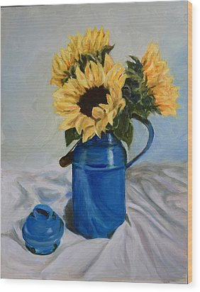 Sunflowers In Milkcan Wood Print