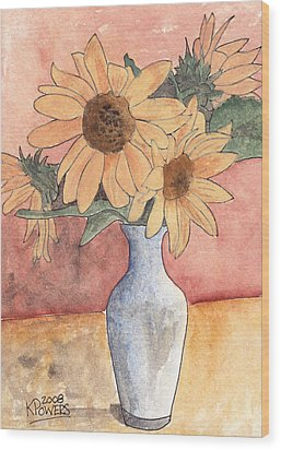 Sunflowers In Vase Sketch Wood Print by Ken Powers