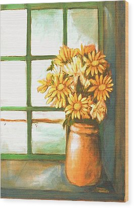 Wood Print featuring the painting Sunflowers In Window by Winsome Gunning
