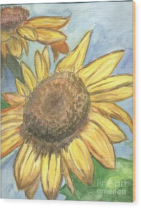 Wood Print featuring the painting Sunflowers by Jacqueline Athmann