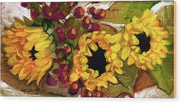 Sunflowers Wood Print by Jeanette Jarmon