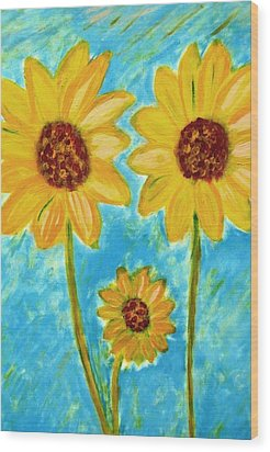 Wood Print featuring the painting Sunflowers by John Scates