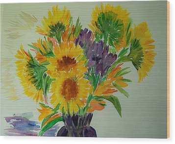 Sunflowers Wood Print by Liliana Andrei