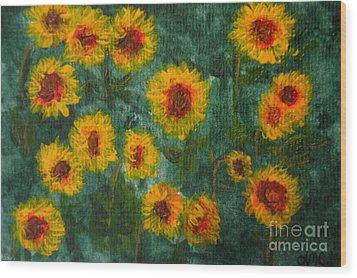 Sunflowers Wood Print by Lynne Reichhart