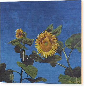Sunflowers Wood Print by Marco Busoni