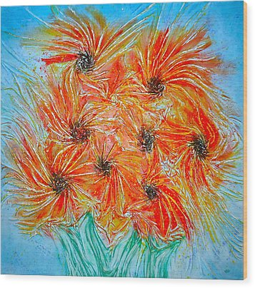 Sunflowers Wood Print by Marie Halter