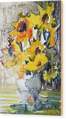 Sunflowers Wood Print by Mindy Newman