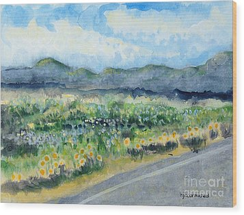 Sunflowers On The Way To The Great Sand Dunes Wood Print