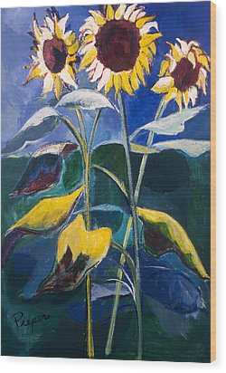Sunflowers Standing Tall Wood Print by Betty Pieper