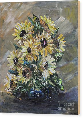Wood Print featuring the painting Sunflowers by Teresa Wegrzyn