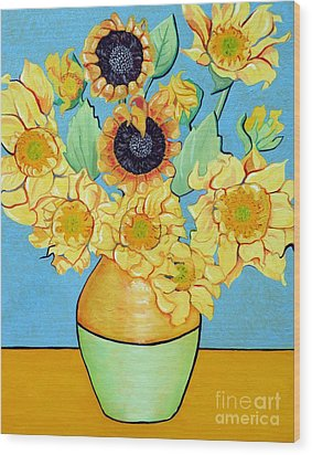 Sunflowers Tribute To Vincent Van Gogh II Wood Print by Christine Belt