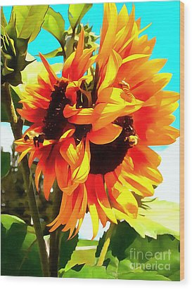 Wood Print featuring the photograph Sunflowers - Twice As Nice by Janine Riley