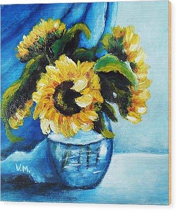 Sunflowers Wood Print by Vesna Martinjak
